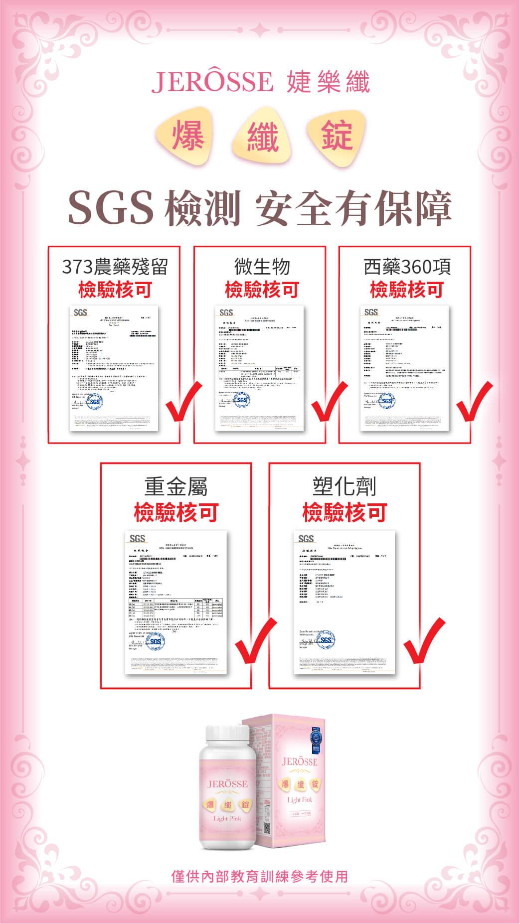 婕樂纖爆纖錠SGS安全認證