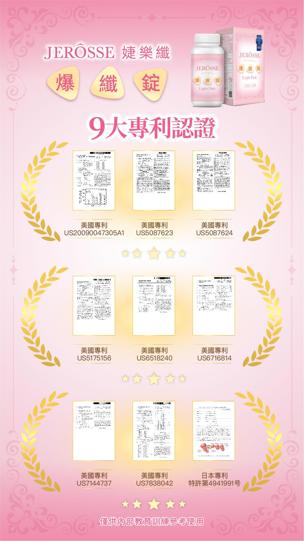 婕樂纖爆纖錠9大專利認證